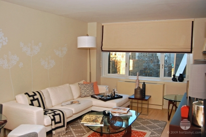 Custom Flat Roman Shade in Beige Linen with Brown 2 Inch Border Trim, Living Room at Sheffield57, 322 West 57th St (322 w 57) NYC by Horizon Window Treatments - horizonyc.com