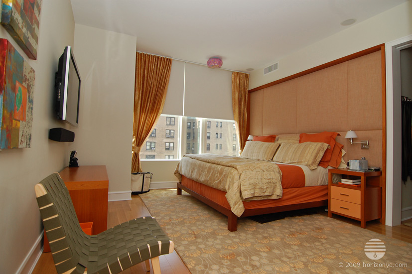 orange gold sheer fabric drapes, dual treatment, curtains, tieback, white blackout window shade, blinds, autumn, bedroom, wall padding, ariel condos, 245 west 99th street, new york city