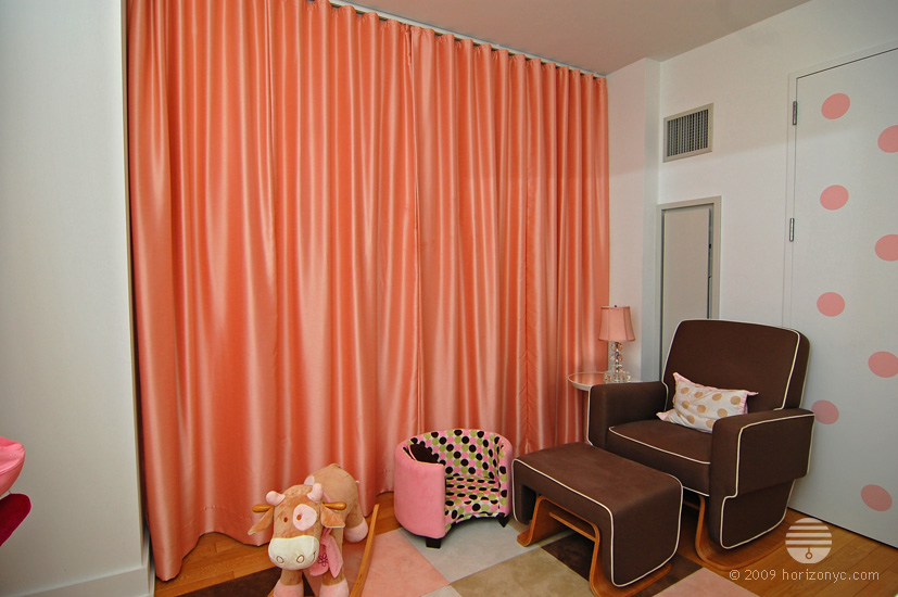 Peach silk ripplefold curtains, baby room, The Orion 350 West 42nd Street NYC installed by Horizon Window Treatments